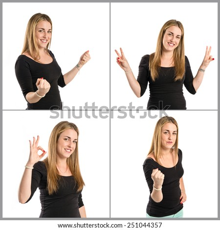 Young women making Ok sign - stock photo