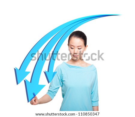 Young women pointing downward trend - stock photo