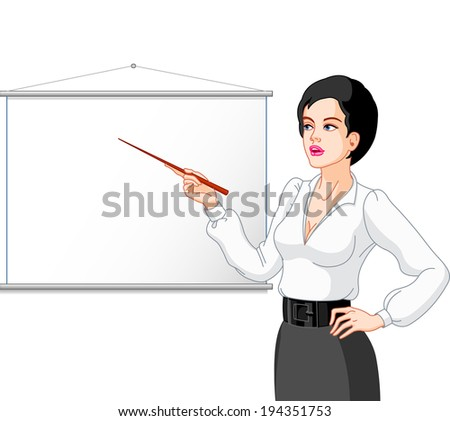 Young women  presenting on a white board.  - stock photo
