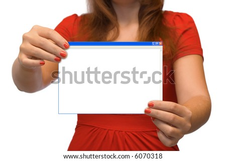 Young women with empty computer window, isolated on white background - stock photo