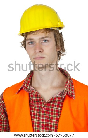 Young worker isolated on white background - stock photo