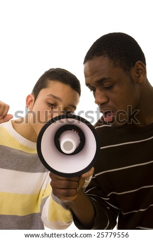Young worker on strike shouting on a megaphone - stock photo