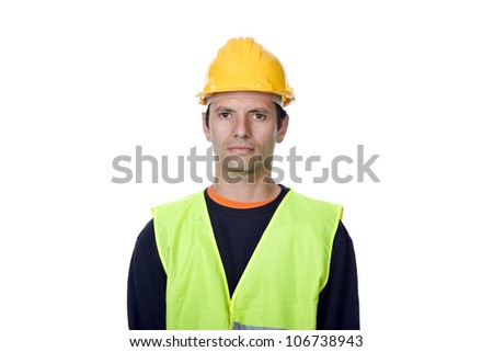 young worker portrait in a white background - stock photo