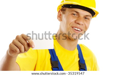 Young worker showing his business card and smile, isolated over white - stock photo