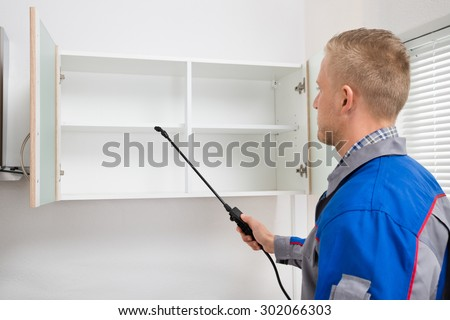 Young Worker Spraying Insecticide On Shelf Of Kitchen Room - stock photo