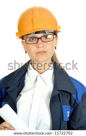 young worker woman, isolated on white - stock photo