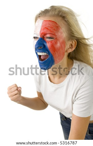 Young yelling Czechish sport's fan with painted flag on face. Sh's on white background. - stock photo