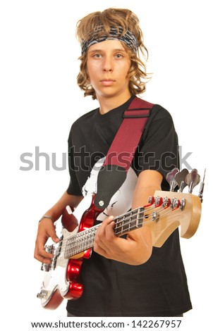 Younger male playing bass guitar isolated on white background,selective focus on guitar - stock photo