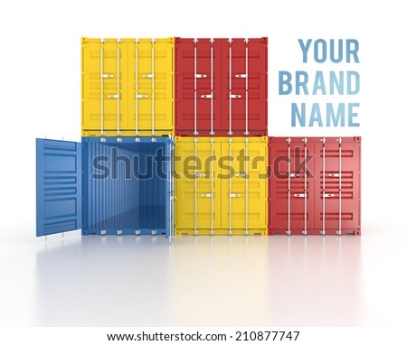 Your brand name Set of red, blue and yellow metal freight shipping containers on white background - photorealistic 3d front perspective render - stock photo