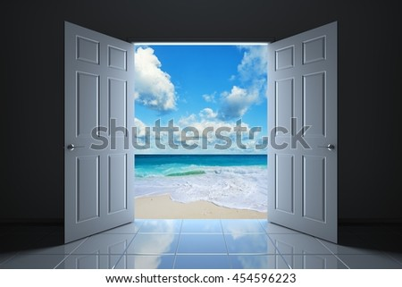 Your doorway to the beach. 3D illustration - stock photo