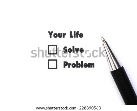 Your select is Solve or Problem, ink print,check box concept - stock photo