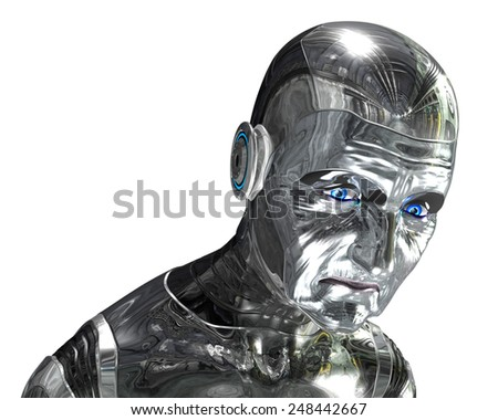 Your technology is getting old, time for an upgrade. 3D rendered elderly robot portrait.  - stock photo