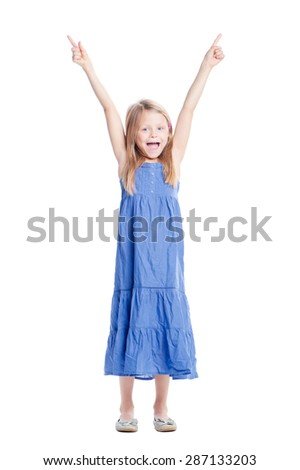 Your text here. Full length of pretty little girl pointing up copy space. Isolated on white. - stock photo