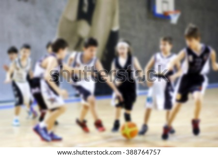 Youth Basketball motion blur - stock photo