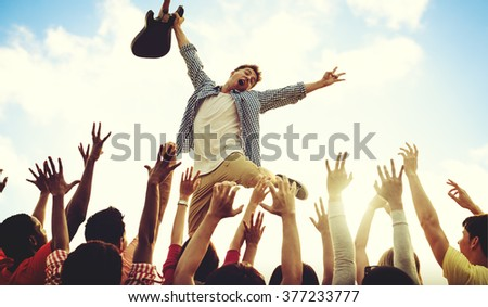 Youth Concert Guitarist Music Festive Concept - stock photo