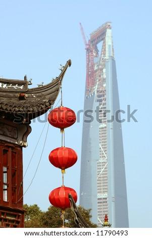 Yu Gardens and World Financial Center, Shanghai, China - stock photo