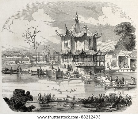 Yuan-Ming-Yuan garden pavilion, then destroyed in retaliation by French-British troops. Created by Worms, published on L'Illustration, Journal Universel, Paris, 1860 - stock photo