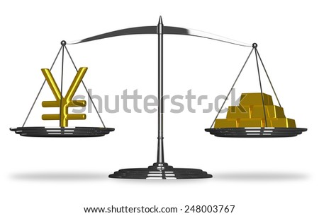 Yuan sign and gold bars on scales isolated - stock photo