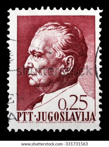 YUGOSLAVIA - CIRCA 1967: Stamp printed in Yugoslavia shows a portrait of Yugoslavian President Josip Broz Tito, from series 75th birthday of President Josip Broz Tito, circa 1967 - stock photo