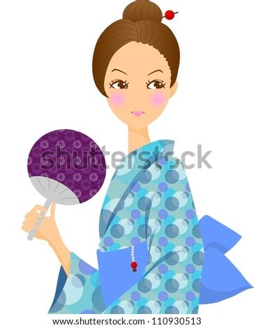 Yukata woman - stock photo