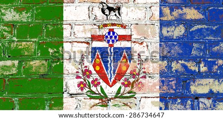 Yukon flag painted on old brick wall texture background - stock photo