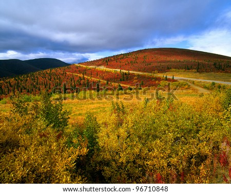 Yukon - Ogilvie Mountains in the fall, Canada - stock photo