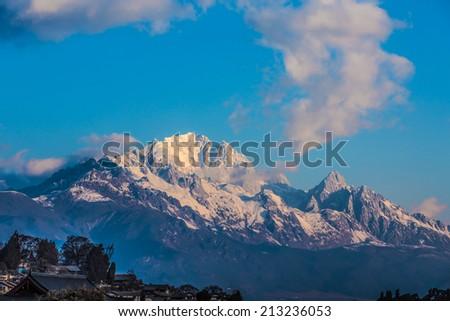 Yulong Snow Mountain in Lijiang - stock photo