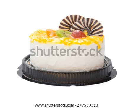 yummy cake on white with grape orange kiwifruit and chocolate on top, clipping path included - stock photo