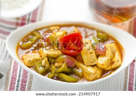 yummy chilli paneer with rice - stock photo