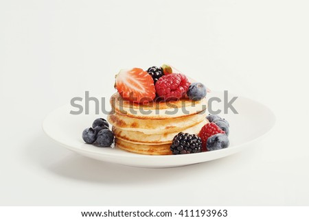 Yummy pancakes on the table - stock photo