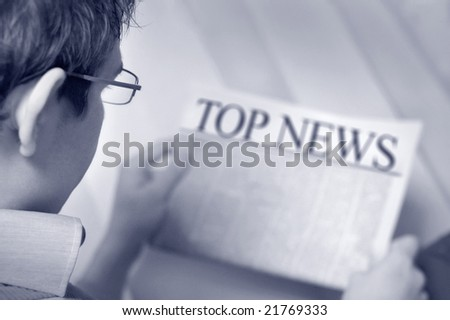 yuppie read business news - stock photo