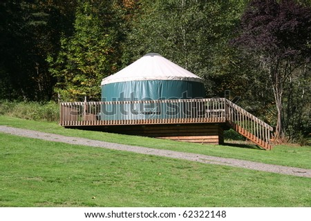 Yurt in Campground - stock photo
