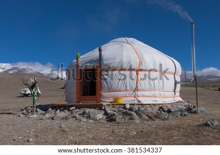 yurt traditional house of Turks and Mongols in the steppes of Central Asia - stock photo