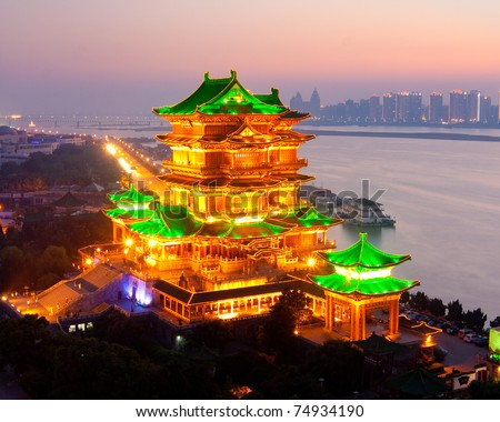 YuYuan garden,Shanghai. traditional, ancient Chinese architecture, made of wood. - stock photo