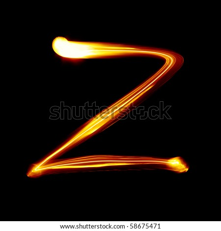 Z - Created by light alphabet - lower case character - stock photo