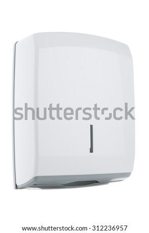Z type paper towel dispenser made of shiny white plastic - stock photo