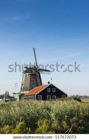 zaandijk windmill - stock photo