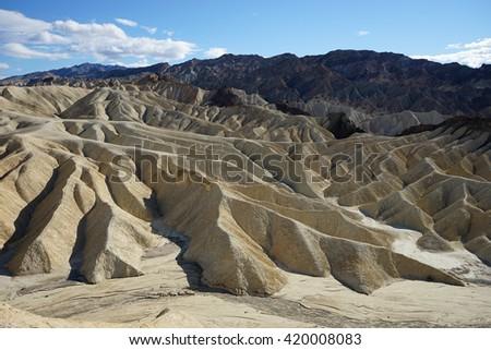 zabriskie point details in death valley california - stock photo