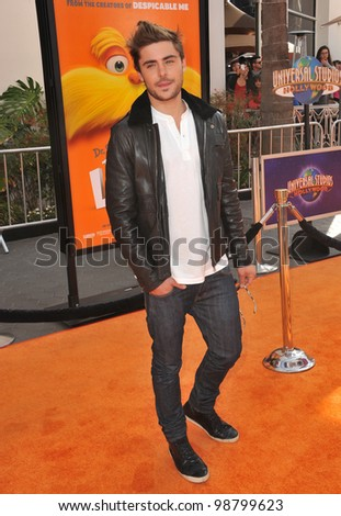 """Zac Efron at the world premiere of his new animated movie """"Dr. Suess' The Lorax"""" at Universal Studios, Hollywood. February 19, 2012  Los Angeles, CA Picture: Paul Smith / Featureflash - stock photo"""