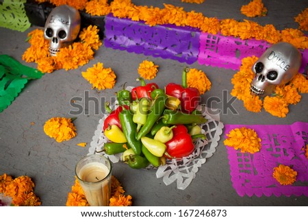 ZACATECAS, MEXICO, DEC 01: Altar of the dead, Mexico, 01 December, 2013. Altar of the dead is obligatory attribute of Traditional Day of the Dead (Dia De Los Muertos) in Mexico - stock photo