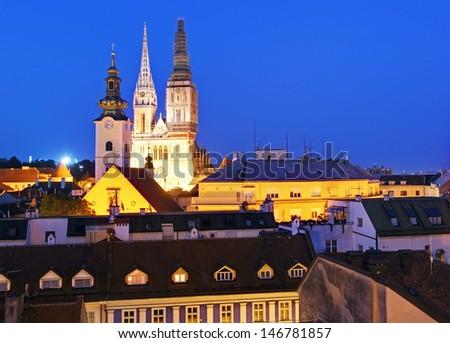 Zagrab city at night - stock photo