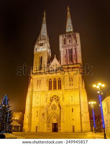 Zagreb Cathedral at night, Croatia - stock photo
