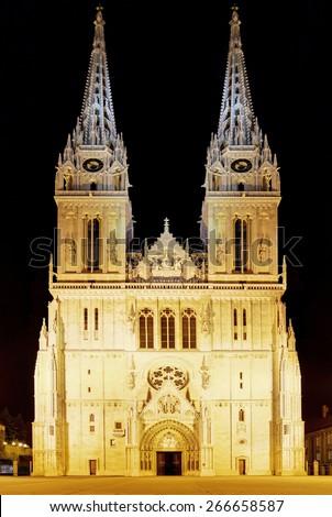 Zagreb Cathedral at sunrise, Croatia. - stock photo