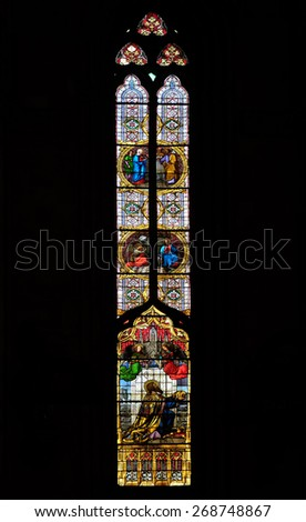 ZAGREB, CROATIA - APRIL 04: Saint Stephen of Hungary, stained glass in Zagreb cathedral dedicated to the Assumption of Mary and to kings Saint Stephen and Saint Ladislaus in Zagreb on April 04, 2015 - stock photo