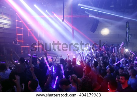 ZAGREB, CROATIA - APRIL 9, 2016 : The audience enjoying the performance of Fedde Le Grand on La Fiesta Stage by Sensation party in Hypo center in Zagreb, Croatia. - stock photo
