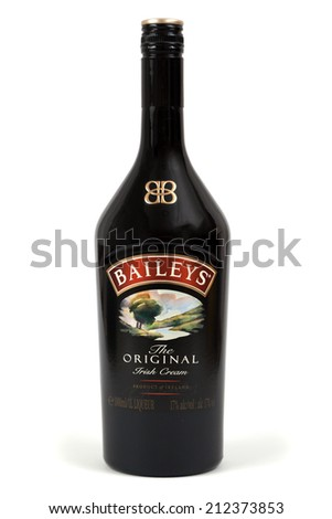 "ZAGREB, CROATIA - AUG 22, 2014: bottle of ""Baileys"" Irish cream.Baileys Irish Cream is an Irish whiskey and cream based liqueur, made by Gilbeys of Ireland. CROATIA - August 22, 2014 - stock photo"
