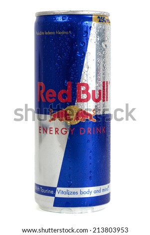 ZAGREB, CROATIA - AUG 28, 2014: Editorial photo of Red Bull. Red Bull is an energy drink sold by Austrian company Red Bull GmbH, created in 1987. CROATIA - August 28, 2014 - stock photo