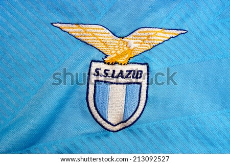 ZAGREB , CROATIA - AUGUST 24 , 2014 :  Italian football club S.S. Lazio from Rome, team official jersey , product shot - stock photo