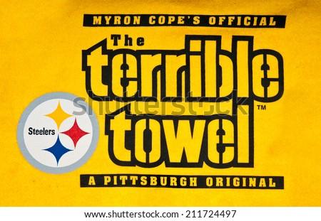ZAGREB , CROATIA - AUGUST 19 , 2014 :  NFL Pittsburgh Steelers terrible towel ,product shot - stock photo