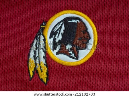 ZAGREB , CROATIA - AUGUST 21 , 2014 :  NFL Washington Redskins club logo printed on textile equipment ,product shot - stock photo